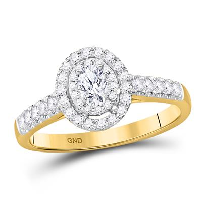 14K GOLD OVAL DIAMOND HALO BRIDAL ENGAGEMENT RING 1/2 CTW (CERTIFIED)