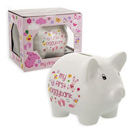 "Baby Essentials Ceramic Piggy Bank for Boys and Girls 5"" Pink or Blue and White-The Pink Pigs, A Compassionate Boutique"