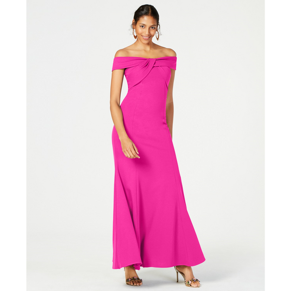 Nightway Twisted Off-The-Shoulder Gown Fuchsia - The Pink Pigs, A Compassionate Boutique