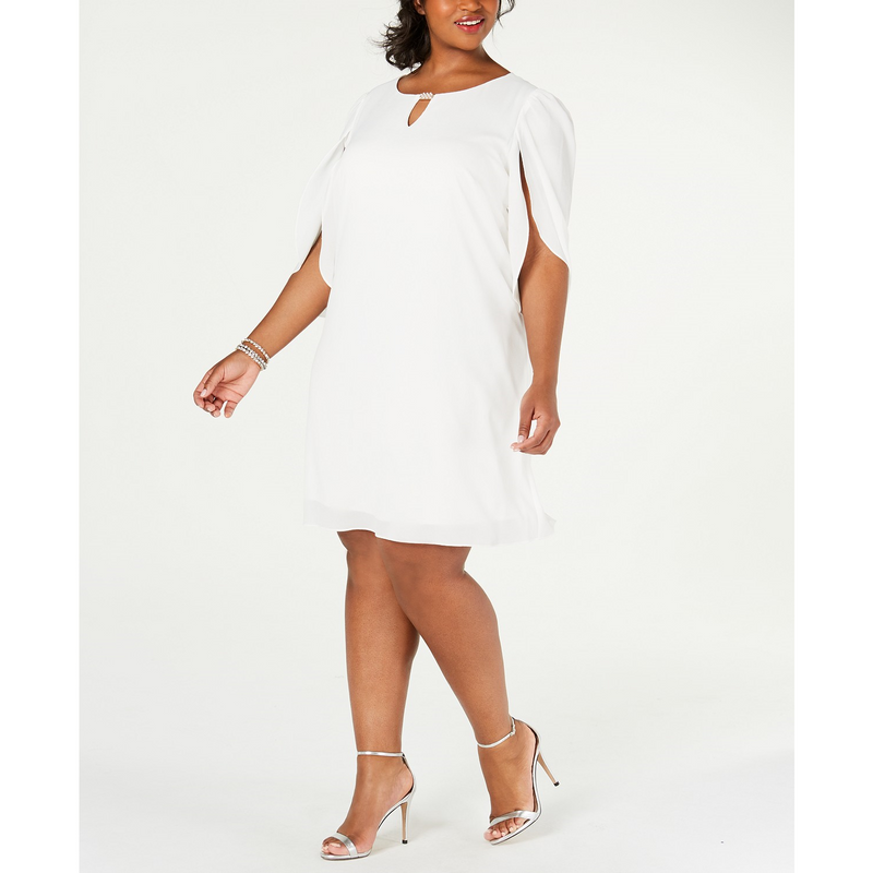 Connected Plus Size Embellished Split-Sleeve Shift Dress Ivory Sz. 14W - The Pink Pigs, A Compassionate Boutique