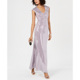 Jessica Howard Embellished Metallic Gown Lavender Sz. 10-The Pink Pigs, A Compassionate Boutique