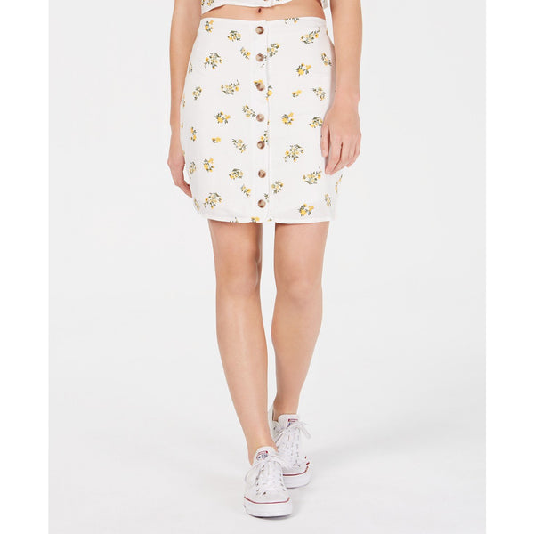 Polly & Esther Juniors' Button-Front Skirt White Floral XL-The Pink Pigs, A Compassionate Boutique