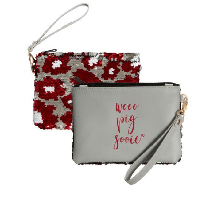 Desden Claire Clutch - Sequined Reversible Wristlet Your Choice of Teams! - The Pink Pigs, A Compassionate Boutique