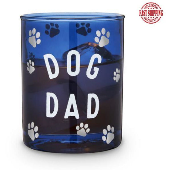 Dog Dad Cocktail Glass Blue 11oz.-Helps Rescued Animals! - The Pink Pigs, A Compassionate Boutique