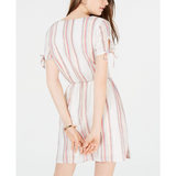 City Studios Juniors' Metallic Striped Wrap Dress Multi Ivory Gold-The Pink Pigs, A Compassionate Boutique