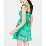 City Studios Juniors' Shoulder-Tie Floral Dress Green/pink-The Pink Pigs, A Compassionate Boutique