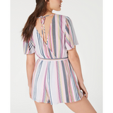 Trixxi Juniors' Open-Back Striped Romper Navy pink stripe - The Pink Pigs, A Compassionate Boutique