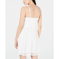 BCX Juniors' Button-Front Lace Fit & Flare Dress Off-white-The Pink Pigs, A Compassionate Boutique