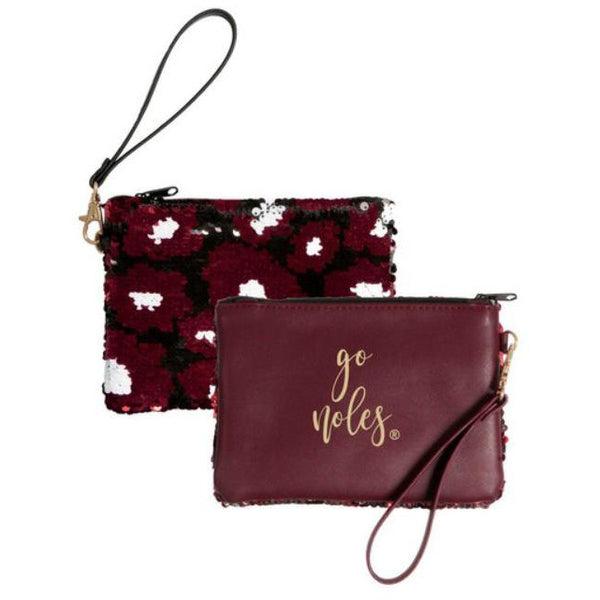 Desden Claire Clutch - Sequined Reversible Wristlet Your Choice of Teams!-The Pink Pigs, A Compassionate Boutique