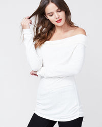 RACHEL ROY Womens Ivory Long Sleeve Off Shoulder Top Size: L