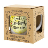 Boxed Ceramic Sculpted Embossed Mug Gift Microwavable 16 oz.-The Pink Pigs, A Compassionate Boutique