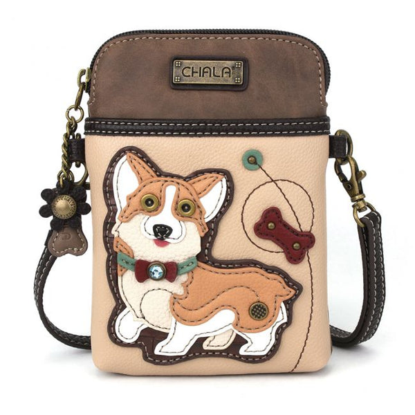 CHALA - CORGI DOG -CELLPHONE CROSSBODY - IVORY-The Pink Pigs, A Compassionate Boutique
