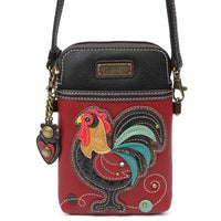 CHALA -ROOSTER - CELL PHONE XBODY PURSE-The Pink Pigs, A Compassionate Boutique
