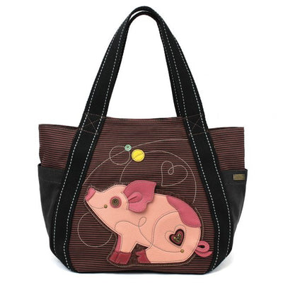 CHALA CARRYALL ZIP TOTE, CANVAS HANDBAG, TOP ZIPPER, ANIMAL PRINTS - MANY COLORS TO CHOOSE FROM-The Pink Pigs, A Compassionate Boutique