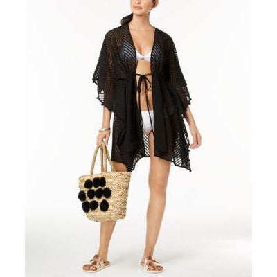 INC International Concepts Sheer Jacquard Tassel Cover-up (Black)-The Pink Pigs, A Compassionate Boutique