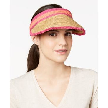 August Hat Co Colorblocked Frayed Straw Sun Visor Pink Size OSFA - The Pink Pigs, A Compassionate Boutique