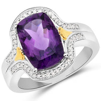 Cushion Cut Amethyst and Diamond 14K Yellow Gold with .925 Sterling Silver Ring SKU: QR24265AWD-14KYSSR