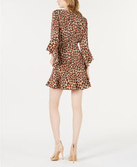 Bar III Cheetah Bell Sleeve Dress