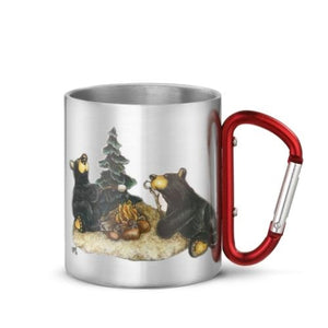 Bear Carabiner Handle Campfire Mugs Stainless Steel