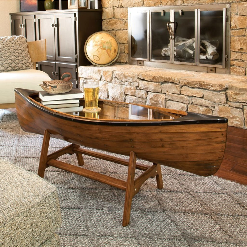 Canoe Book Shelf, Coffee Table, Boat Side Tables & Oar Blanket Rack for the Lake House - The Pink Pigs, A Compassionate Boutique