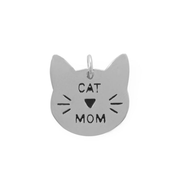Cat Mom Cat Face Charm for Cat Lovers Sterling Silver Engrave-able-The Pink Pigs, A Compassionate Boutique