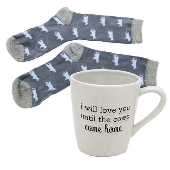 Cows Come Home Sock and Mug Gift Set - The Pink Pigs, A Compassionate Boutique