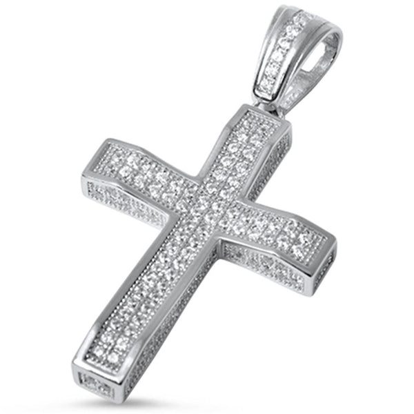 Large Micro Pave' Sterling Silver Cross Pendant with Chain - A Sparkling Beautiful Cross Pendant!-The Pink Pigs, A Compassionate Boutique