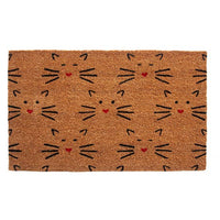 Love Cats Coir Welcome Mat Handmade Cute Kitty Faces Welcome You Home!
