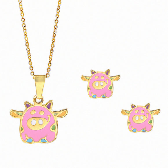 Flying Pink Piggy Jewelry Set Stainless Steel Necklace and Earrings for Girls-The Pink Pigs, A Compassionate Boutique