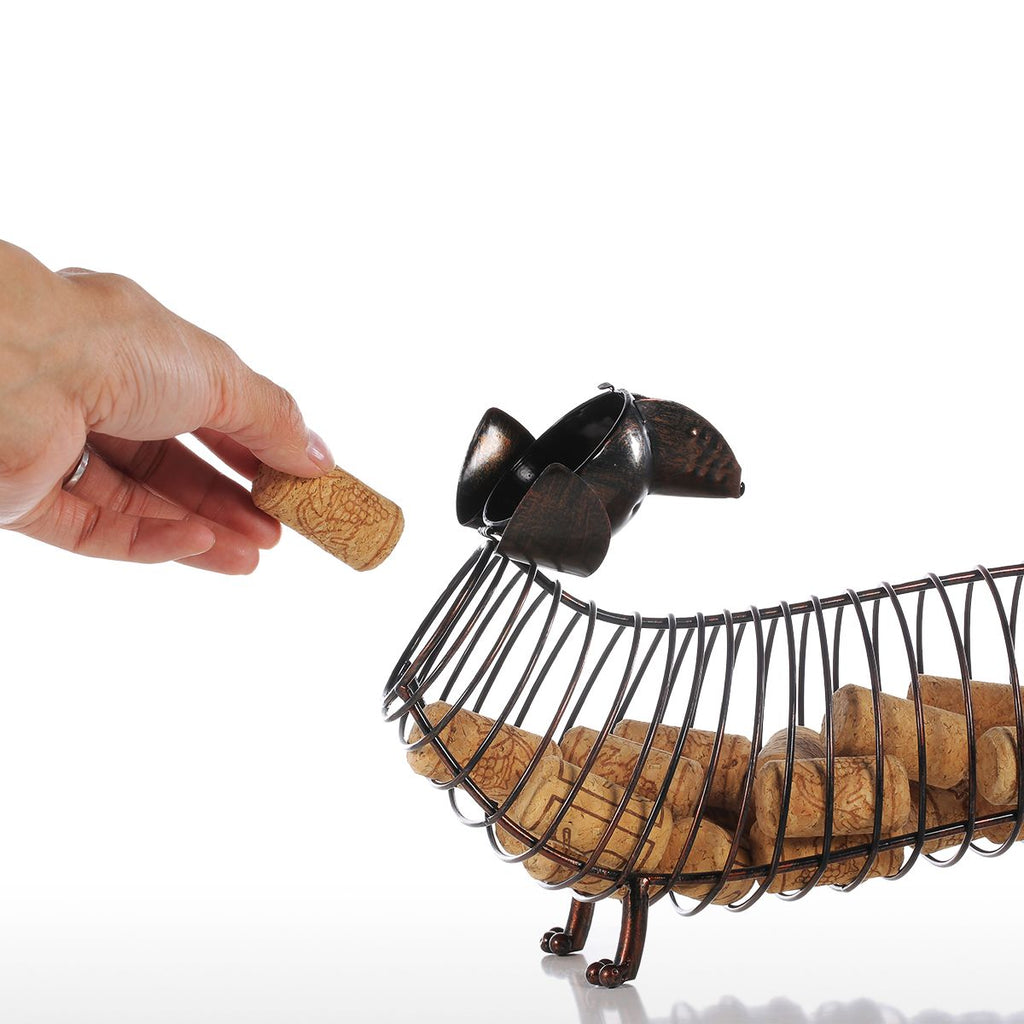 Dachshund Wine Cork Cage:  Long, Chubby & CUTE Little Weiner Doggy!