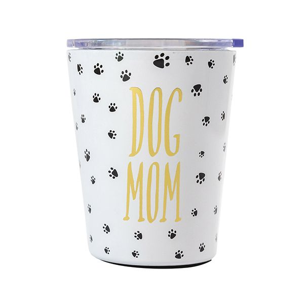 Dog Mom Stainless Steel Travel Mug with Lid-Dog Lover's Stainless Coffee Tumbler-The Pink Pigs, A Compassionate Boutique