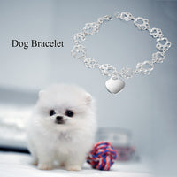 Pet Paw Bracelet with Heart Sterling Silver, Engraveable-The Pink Pigs, A Compassionate Boutique