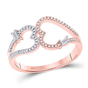 14K Gold Double Heart Diamond Ring, Romance plus Compassion in Action!