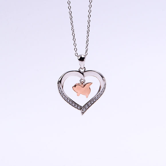Flying Pig in a Heart with CZ Sterling Silver Necklace 18