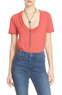 We the free people, women's layered short sleeves t-shirt Red Phoebe M