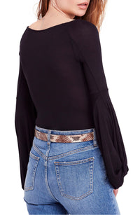 Free-People-Women's-Black-Twist-Sleeve-Jewel-Neck-Casual-Top-M