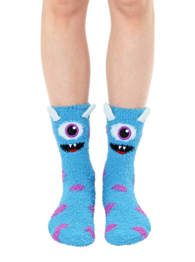 Fuzzy Blue One-Eyed Monster Crew Socks by Living Royal