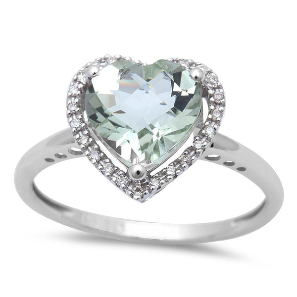 Green Amethyst and Diamond Heart Ring in 14K White Gold-So Glamorous!-The Pink Pigs, A Compassionate Boutique