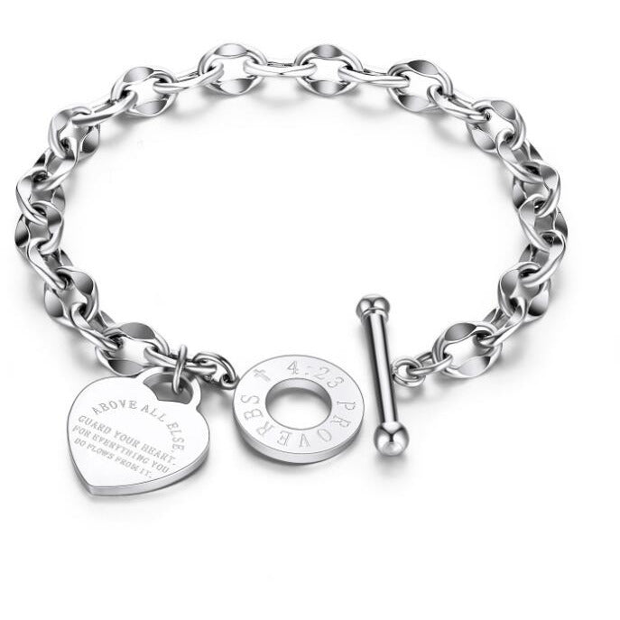 Guard Your Heart Christian Bracelet Proverbs 4:23 Stainless Steel Rose Yellow or White Gold Plated - The Pink Pigs, A Compassionate Boutique