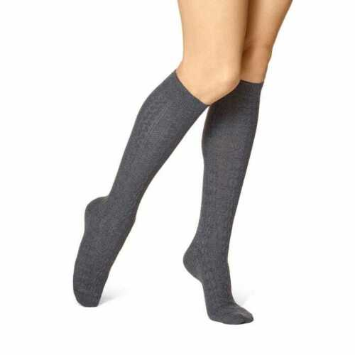 Hue Cable Knit Knee High Socks Heather Gray One Size-The Pink Pigs, A Compassionate Boutique