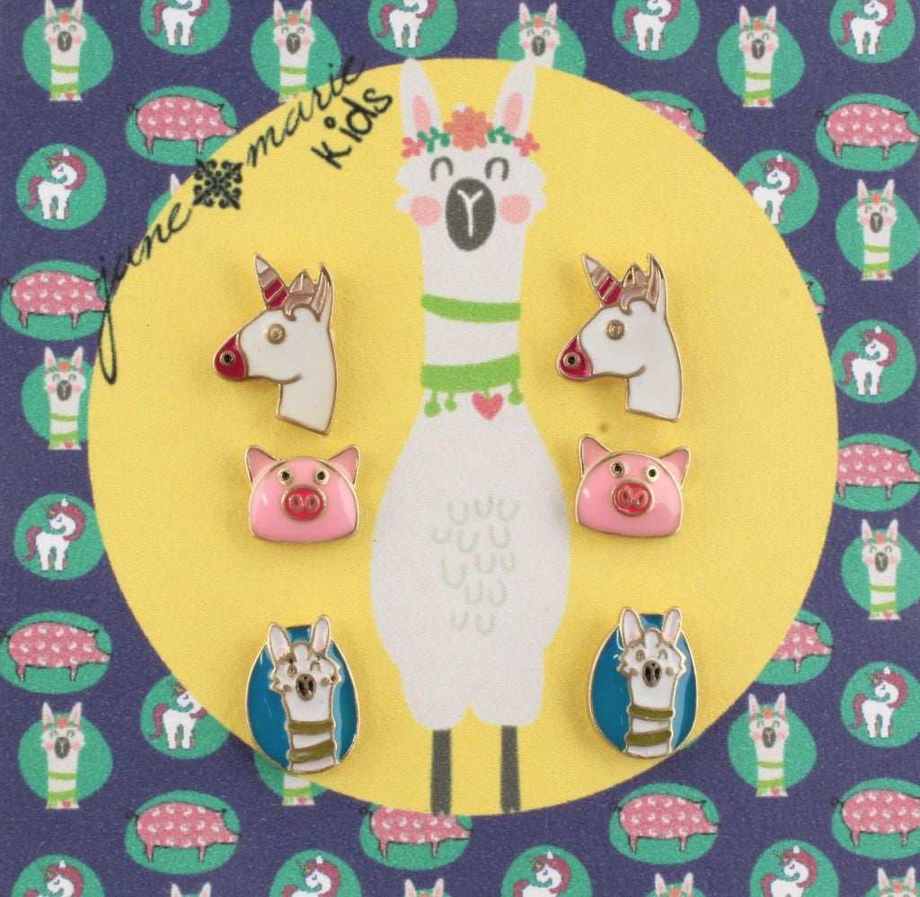Girl's Fashion Necklaces and Earring Sets-Pig, Unicorn, Llama by Jane Marie - The Pink Pigs, Fine Jewels and Gifts for People who Love Animals!