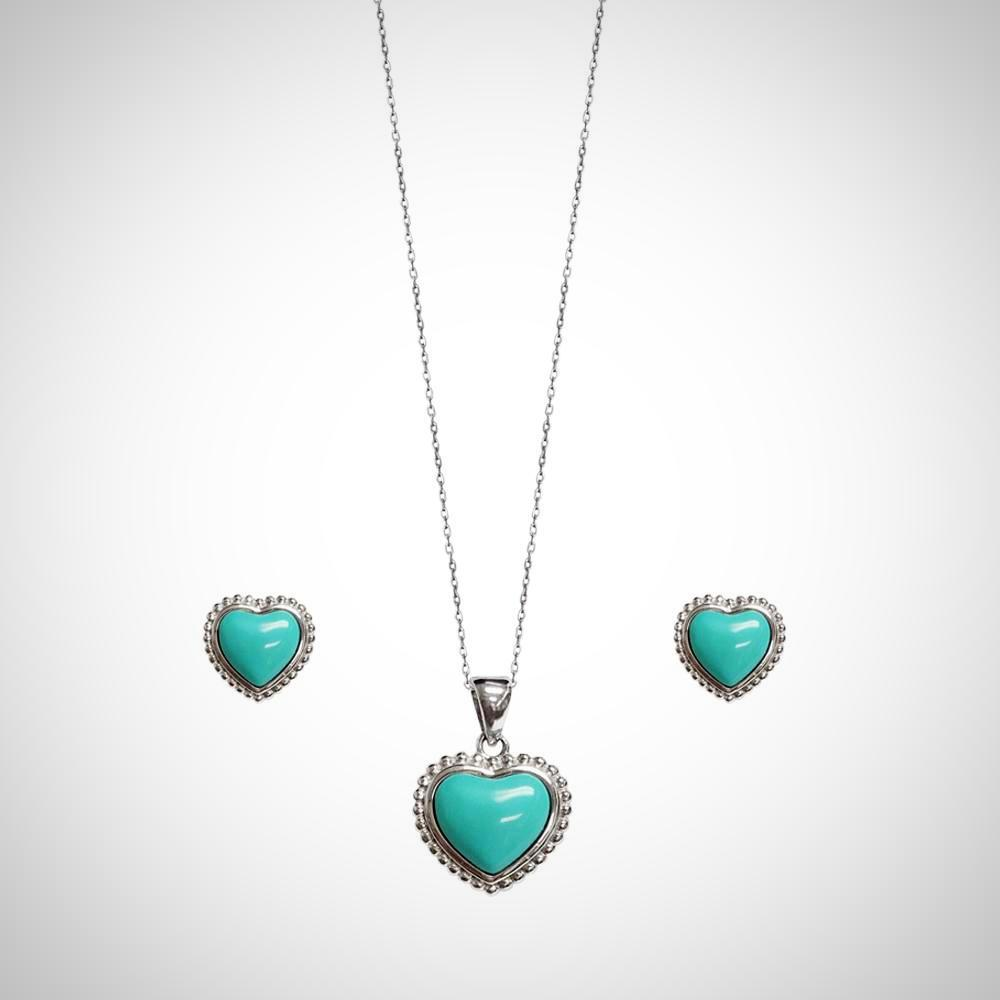 Jimmy Crystal Turquoise Heart Jewelry Set, Necklace & Earrings in Sterling Silver