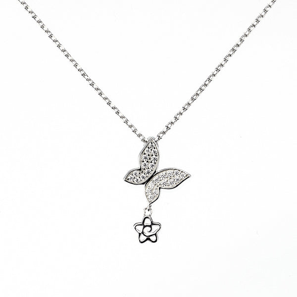 Butterfly Necklace with Cubic Zirconia Sterling Silver-The Pink Pigs, A Compassionate Boutique