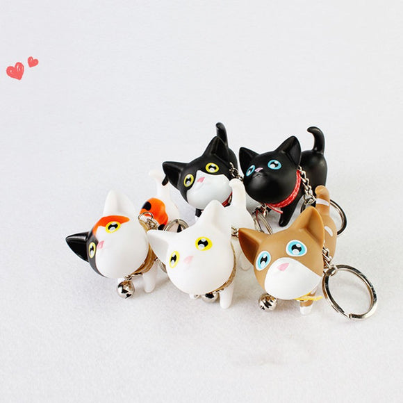 Kitty Cat Silicone Keychain with Bell So Cute! 5 Varieties - The Pink Pigs, A Compassionate Boutique
