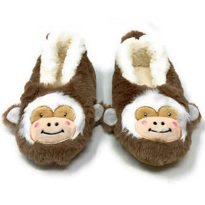 Let's Monkey Around Plush Fuzzy Monkey Footie Slipper Socks