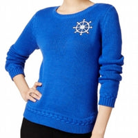 Maison Jules Aruba Blue Crewneck Sweater Anchor Monogram Small S
