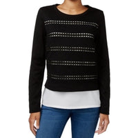 Maison Jules Black and White Cutout layer long sleeved look casual top L