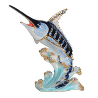 Marlin Bejeweled Pewter Hand Painted Jewelry Trinket Box-Gorgeous!