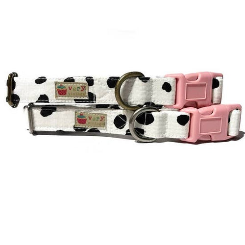 MOO Cow Pattern Pet Collar & Leash Made in the USA ORGANIC Cotton