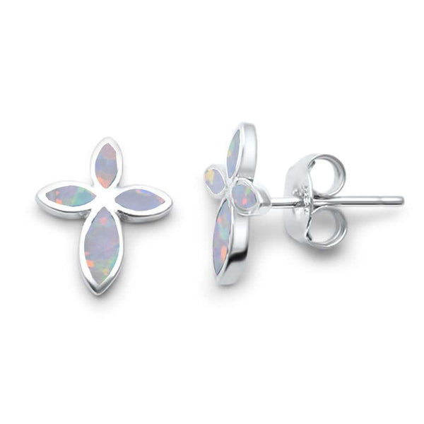 Opal Sterling Silver Cross Earrings Christian Jewelry-The Pink Pigs, A Compassionate Boutique